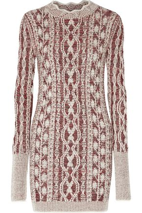 ISABEL MARANT Eda cable-knit wool-blend jacquard mini dress