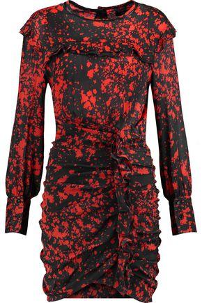 ISABEL MARANT Gathered ruffle-trimmed printed silk-blend mini dress