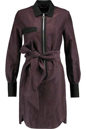 ISABEL MARANT Mofira belted checked ramie and silk-blend mini dress