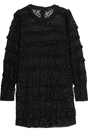 ISABEL MARANT Acca ruffled metallic fil coupé chiffon mini dress