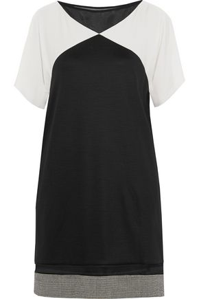 VIONNET Silk-paneled fleece wool mini dress