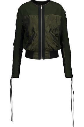 HAIDER ACKERMANN Satin-paneled lace-up brushed wool-twill bomber jacket