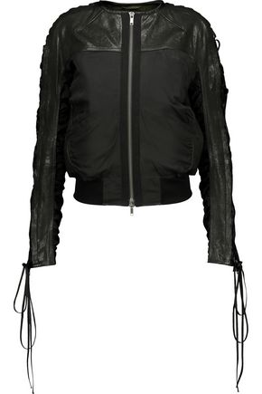 HAIDER ACKERMANN Lace-up paneled leather and cotton-blend twill bomber jacket