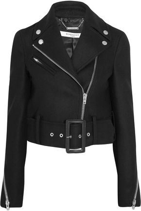 GIVENCHY Cropped wool-blend felt biker jacket