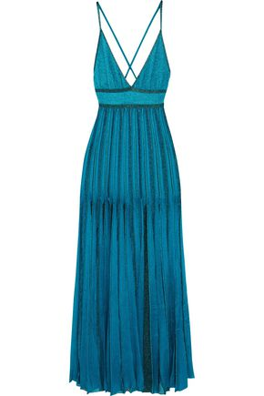 MISSONI Open-back metallic crochet-knit maxi dress