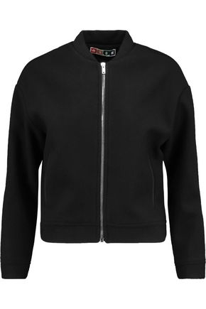 MSGM Cropped wool-blend bomber jacket