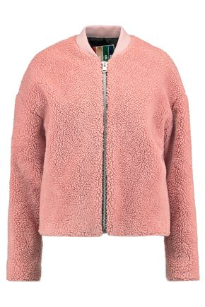 MSGM Ribbed knit-trimmed faux shearling jacket