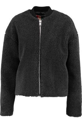 MSGM Ribbed knit-trimmed faux shearling bomber jacket