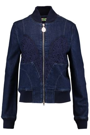 STELLA McCARTNEY Lara lace-paneled denim jacket