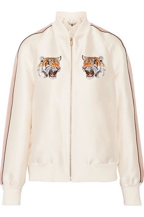 STELLA McCARTNEY Lorinda embroidered duchesse-satin bomber jacket