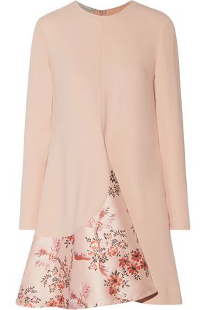 STELLA McCARTNEY Flared satin brocade-paneled crepe mini dress