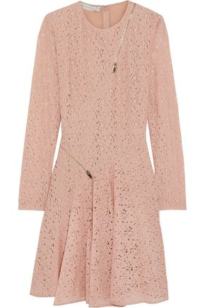 STELLA McCARTNEY Zip-detailed cotton-lace mini dress