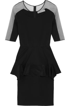 STELLA McCARTNEY Mesh-paneled faille peplum faille mini dress