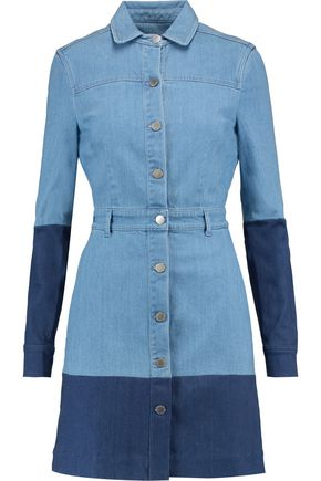 STELLA McCARTNEY Paneled denim mini shirt dress