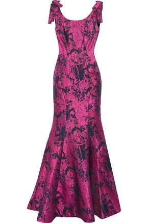 MIKAEL AGHAL Fluted bow-embellished jacquard gown