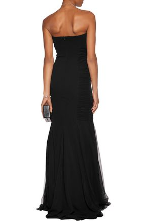 BADGLEY MISCHKA Strapless tulle-trimmed crepe gown