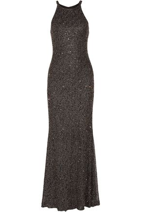 BADGLEY MISCHKA Metallic beaded tulle gown