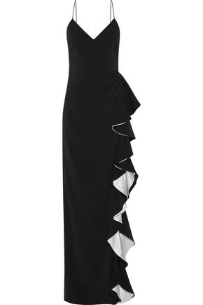 BADGLEY MISCHKA Ruffled silk-trimmed ruched crepe gown