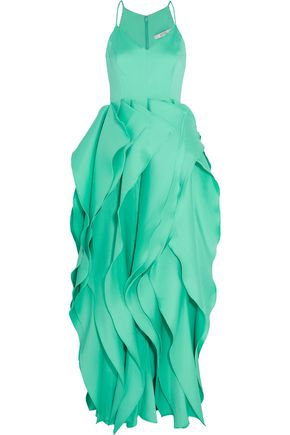 BADGLEY MISCHKA Ruffled crepe de chine gown