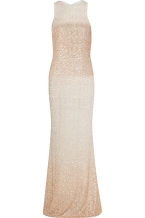 BADGLEY MISCHKA Sequined chiffon gown