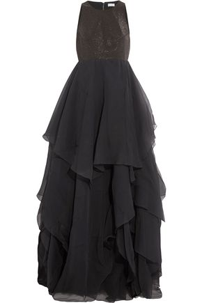 BRUNELLO CUCINELLI Embellished layered silk-crepon gown