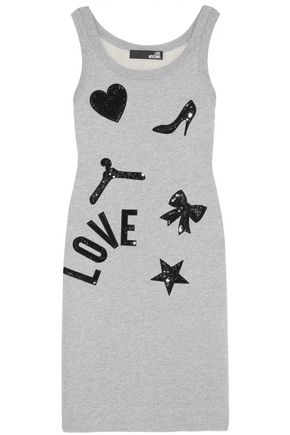 LOVE MOSCHINO Embellished cotton-jersey mini dress