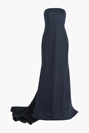 BRUNELLO CUCINELLI Strapless silk crepe-paneled pinstriped wool and cotton-blend gown