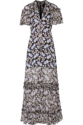 ANNA SUI Oops A Daisy ruffled metallic-trimmed silk-blend maxi dress