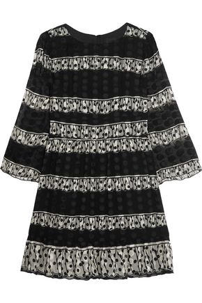 ANNA SUI Two-tone printed silk-blend jacquard mini dress
