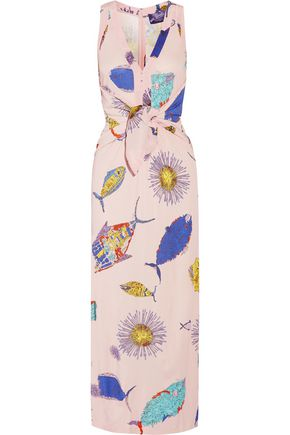 EMILIO PUCCI Tie-front printed jersey maxi dress