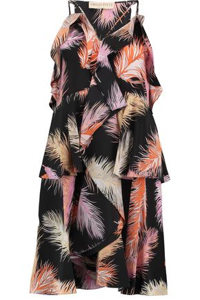 EMILIO PUCCI Ruffled printed silk-crepe dress