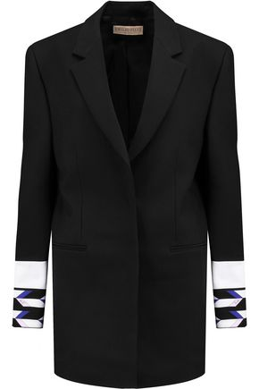 EMILIO PUCCI Oversized printed wool-blend crepe blazer