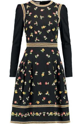 VALENTINO Embroidered stretch-wool dress