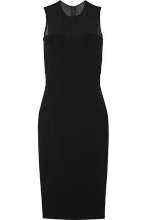 VICTORIA BECKHAM Chiffon-trimmed silk and wool-blend crepe dress
