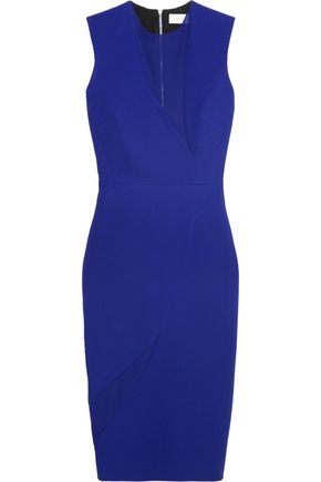 VICTORIA BECKHAM Georgette-paneled wool and silk-blend dress
