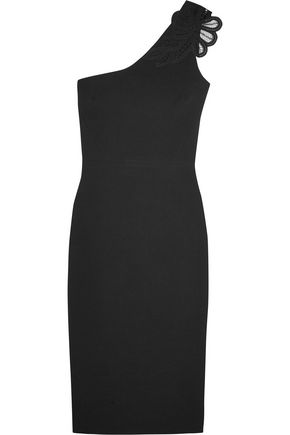 VICTORIA BECKHAM One-shoulder appliquéd silk and wool-blend crepe dress