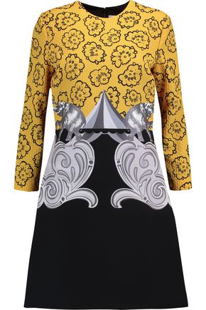 VICTORIA, VICTORIA BECKHAM Cloqué and printed crepe mini dress