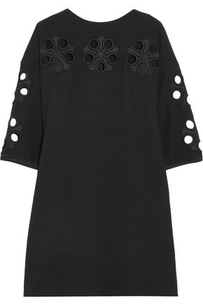 VICTORIA, VICTORIA BECKHAM Broderie anglaise wool-crepe mini dress