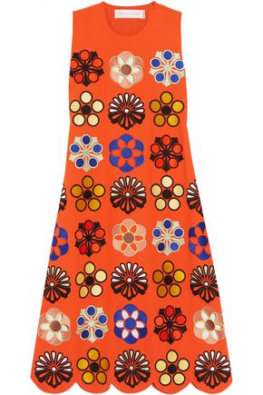 VICTORIA, VICTORIA BECKHAM Embroidered crepe midi dress