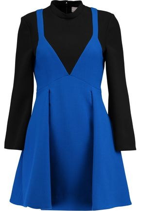 VICTORIA, VICTORIA BECKHAM Wool-paneled crepe mini dress