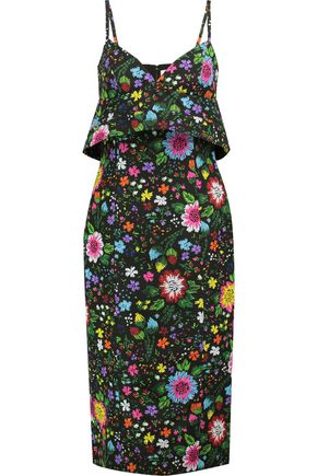VICTORIA, VICTORIA BECKHAM Floral-print twill midi dress
