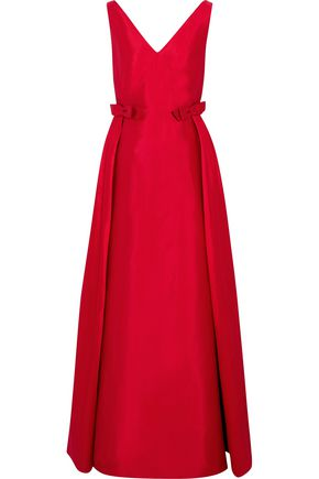 VALENTINO Bow-embellished silk-satin gown