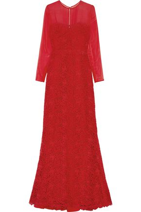 VALENTINO Chiffon and cotton-lace gown
