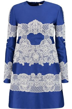 VALENTINO Embellished lace-appliquéd cotton and silk-blend dress