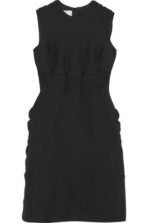 VALENTINO Lace-paneled wool and silk-blend dress