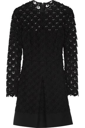 VALENTINO Appliquéd guipure lace wool and silk-blend mini dress