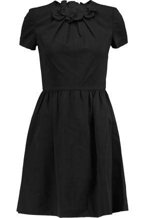 VALENTINO Appliquéd wool-blend mini dress