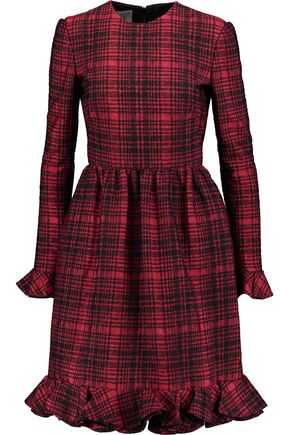 VALENTINO Checked cotton-blend jacquard dress