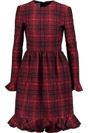 VALENTINO Checked cotton-blend jacquard dress