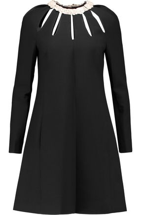 VALENTINO Leather-trimmed cutout wool and silk-blend mini dress